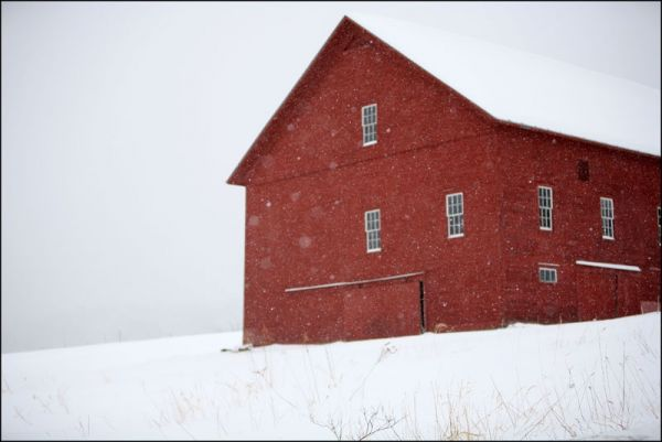 vermont Red Barn Snow storm blizzard farm white